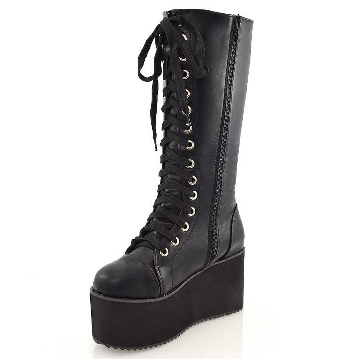 3f594e784a2 ESSEX GLAM Womens Synthetic Knee High Platform Wedge Lace Up Biker Boots