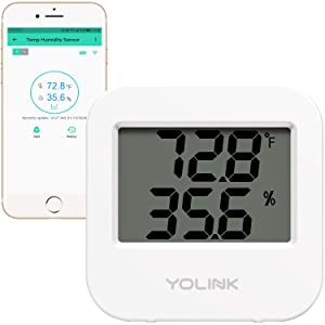 Smart Temperature and Humidity Sensor, YoLink 1/4 Mile World's Longest Range Smart Home Wireless Temp Humidity Sensor Work with Alexa IFTTT Remote Monitor APP Alerts History Logs - YoLink Hub Required
