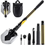 OKOOLCAMP Survival Camping Shovel Multifunctional Folding Shovel 15-28inch Heavy Duty Alloy Steel Tactical Shovel with Saw fo