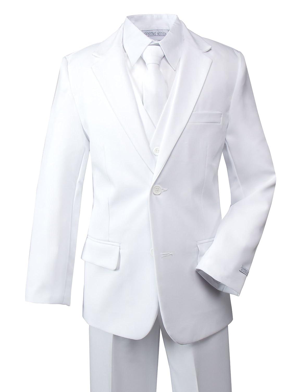 Spring Notion Big Boys' Modern Fit Dress Suit Set White ERF030-SNS-030.WT