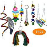 PREFERHOUSE 7 Pcs/Set Bird Swing Musical Toy, Parrot Rack Bell Toy, for Macaw, Parakeet, African Grey Parrot