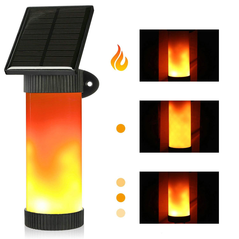 Guaiboshi Flamme Lampe Außenleuchte Wasserdicht IP65 LED Solarlampe Flammenlicht Wandleuchte Path Licht Warmweiß Flackerlicht Tanzen Flamme Licht Sensor für Garten, Parties, Haus, Treppen, Zaun, Außenwand