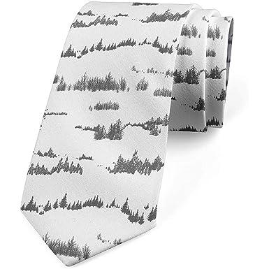 Corbata para hombres, abetos en la montaña, blanco y gris carbón ...