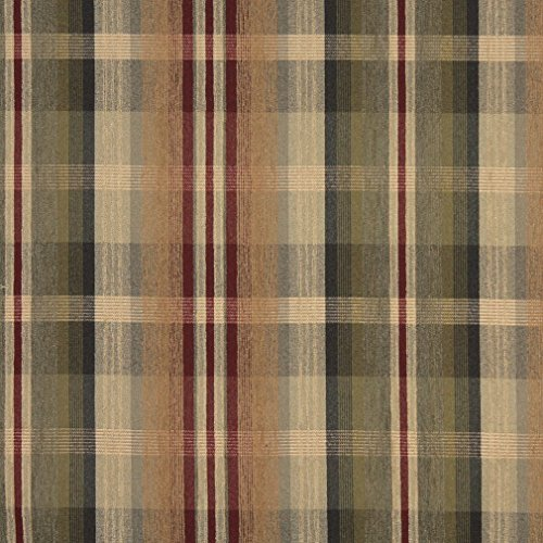- Tan Beige and Burgundy Plaid Chenille Upholstery Fabric by the yard