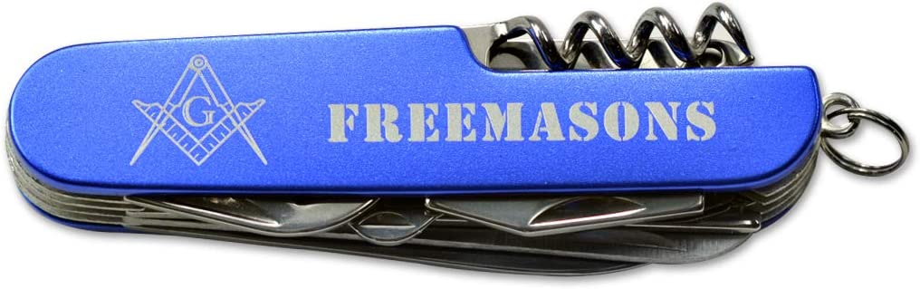 Square Compass Masonic Folding Pocket Knife - Blue White