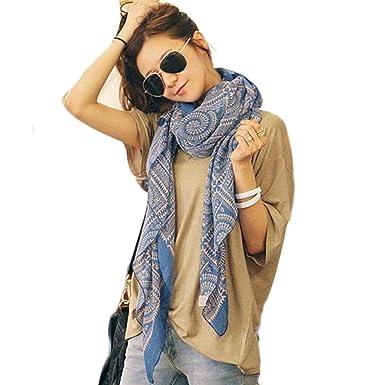 HUHU833 Écharpes châle foulards Femmes mode impression Bohême Fleurs longue  écharpe châle Automne Hiver (Bleu acf10ec4b13