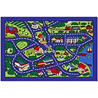 City Street Map Blue Village Area Rug Carpet Mat 3x5 Feet Perfect for Childs Room