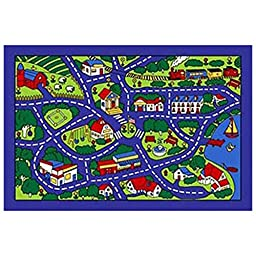 City Street Map Blue Village Area Rug Carpet Mat 5x7 Feet Perfect for Child\'s Room
