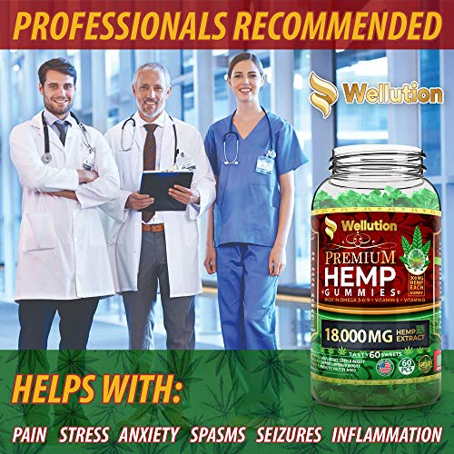 Hemp Gummies Premium 18000MG High Potency - 300 Per Fruity Gummy with Organic Hemp Oil | Natural Hemp Candy Supplements for Pain, Anxiety, Stress & Inflammation Relief | Promotes Sleep & Calm Mood