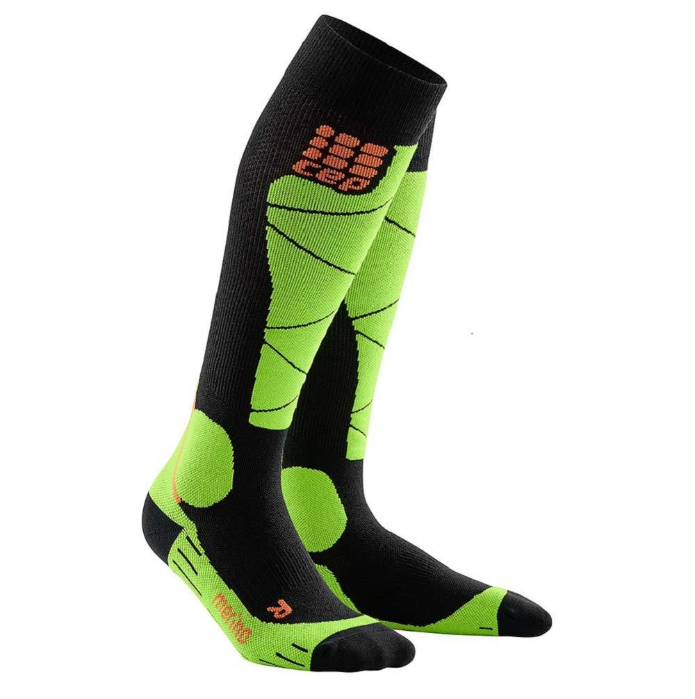 CEP Men's Winter Ski Compression Socks Ski Merino (Black/Lime) 5 by CEP