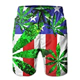 Newest - Men Travel Summer Quick Dry Board Shorts - Green Flame Leaf Weed