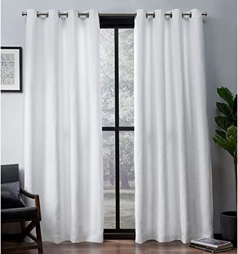 Exclusive Home Curtains Leeds Textured Slub Woven Blackout Window Curtain Panel Pair with Grommet Top, 52×84, Winter White, 2 Piece