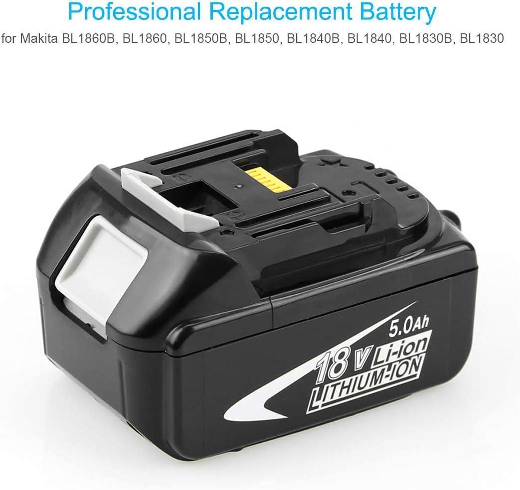 5000mAh Lithium Batterie Remplacement pour Makita 18V BL1860B BL1850 BL1840 BL1830 BL1815 BL1835 BL1845 LXT-400 Outils /électriques sans fil avec indicateur 2X Reoben BL1850B 18V 5,0Ah