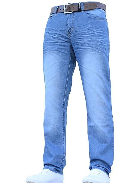 0127f1f689b Mens Crosshatch Classic Straight Leg Regular Fit Stylish Denim Jeans All  Waist Sizes Belted  Amazon.co.uk  Clothing