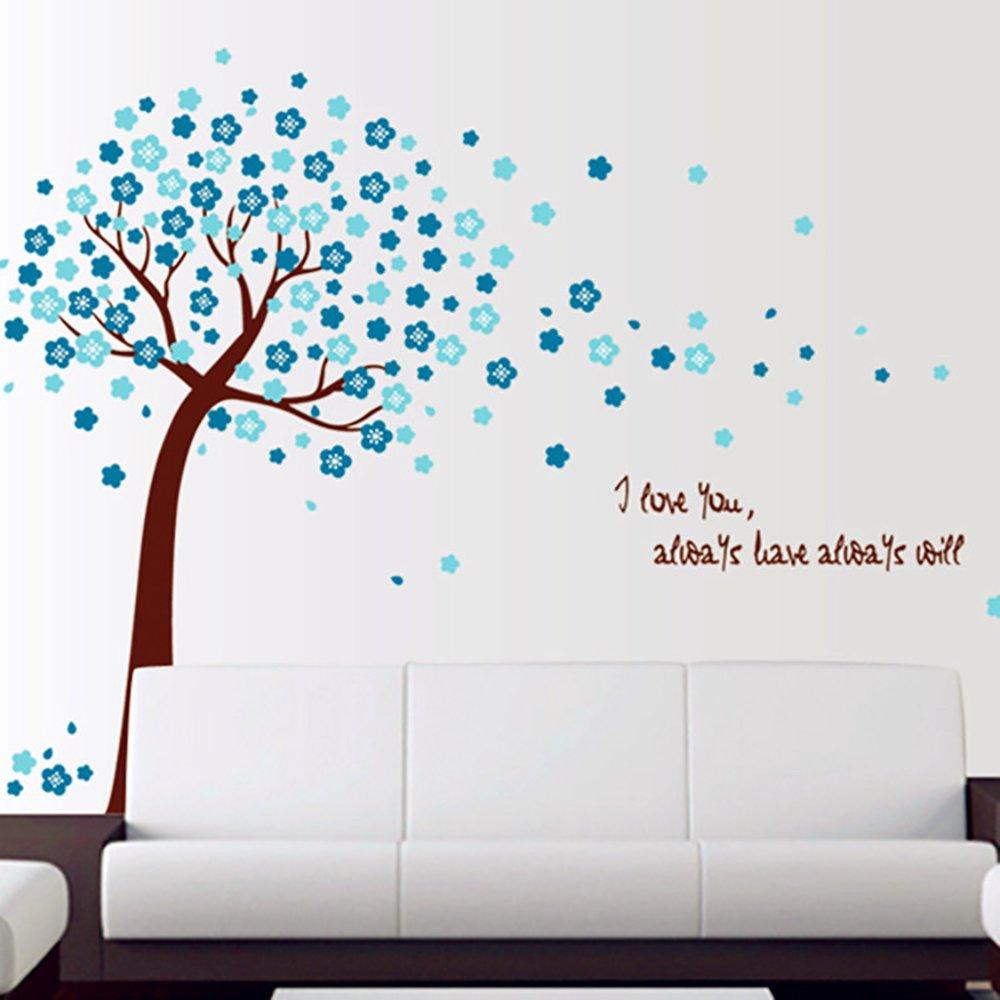 Sdtdia Arbre Bricolage Romantique P/êche Stickers Bleu Rose Feuilles Brun Tronc Autocollant Chambre PVC D/écor Bleu