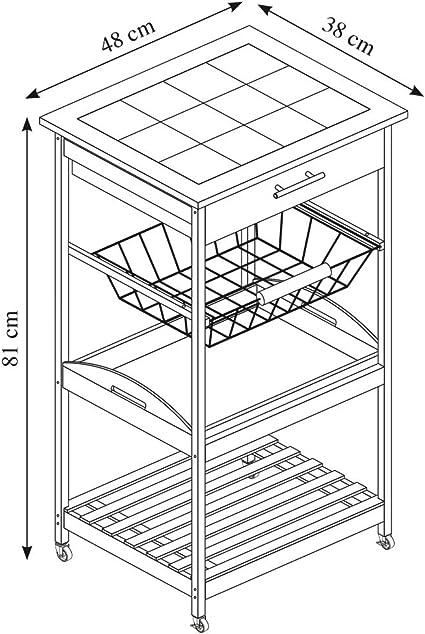 Carro de Cocina bamb/ú, 49 x 81 x 38 cm Kesper 25776 13