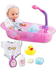 be1a4a8b0 deAO Mi Primera Muñeca Bebé Conjunto de Baño con Funciones de Agua Real Set  Incluye Muñeca