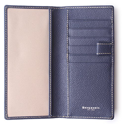 Genuine Leather Checkbook Cover For Men & Women - Checkbook Covers with Card Holder Wallet RFID Blocking (Blue) by Borgasets (Image #7)