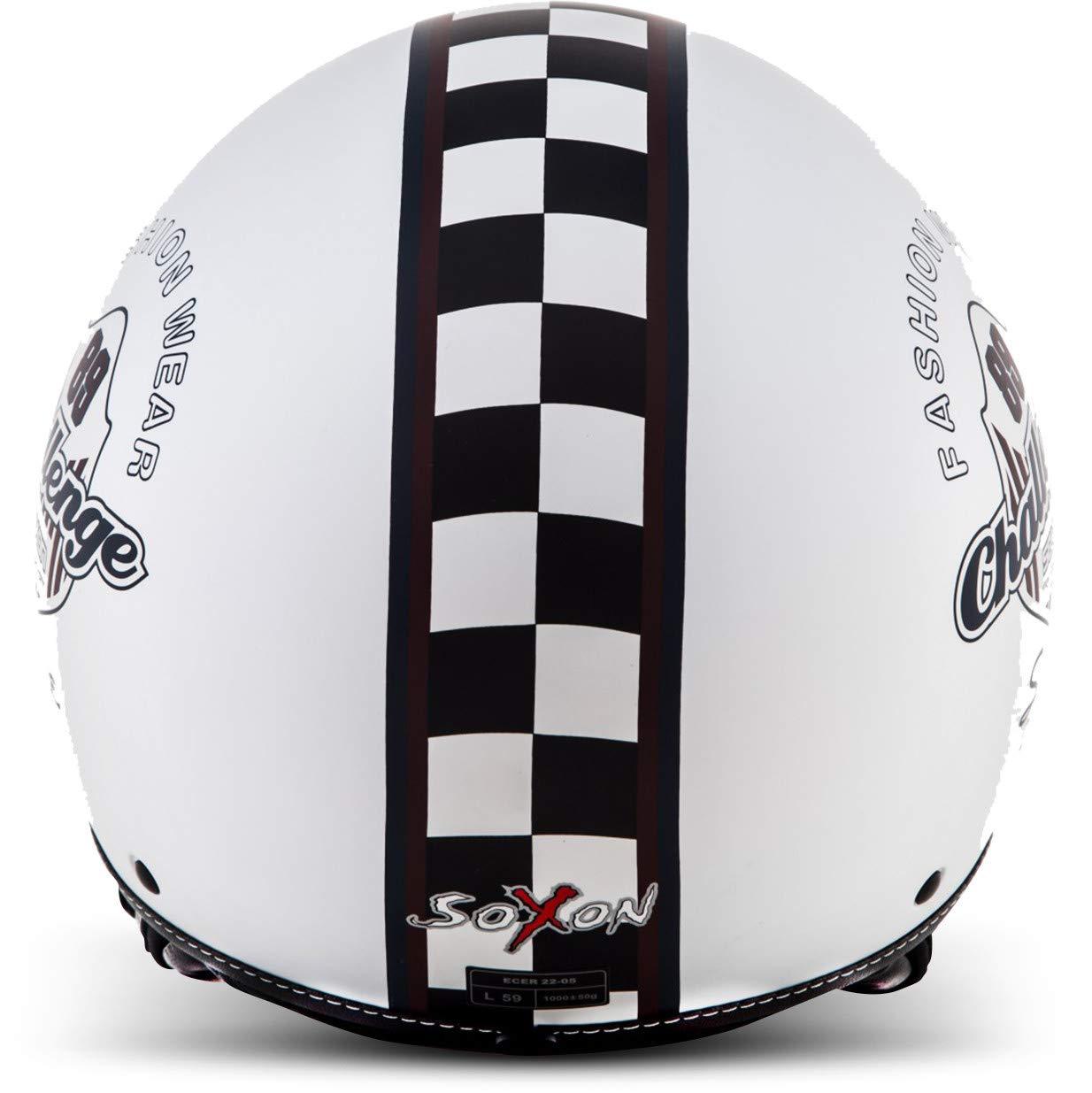 SOXON SP-301 Snow Moto-Helmet Bobber Scooter-Helmet Cruiser Vespa-Helmet Biker Pilot Retro Vintage Chopper Jet-Helmet Mofa 59-60cm incl White Cloth Bag ECE certified L Snow