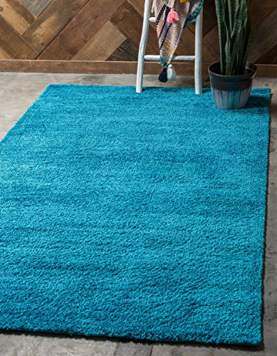 Unique Loom Solo Collection Plush Casual Turquoise Area Rug (5' x - Area Rugs Turquoise