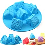 AILEHOPY Silicone Molds - Baking Molds 6 Cavity Non-stick Cake Molds,House Shape Soap Mold, For Cupcake,Candy, Jelly, Pudding