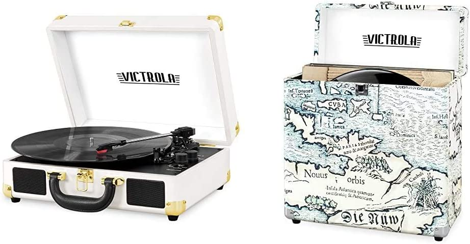 Victrola Vintage 3-Speed Bluetooth Portable Suitcase Record Player with Built-in Speakers   Upgraded Turntable Audio Sound & Vintage Vinyl Record Storage Carrying Case for 30+ Records, Retro Map