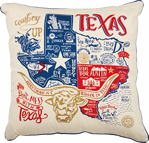 Texas State Art Pillow Primitives by Kathy 20 x 20