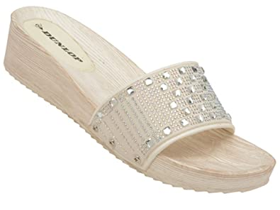 9268b8f51a4a .DUNLOP. Womens Kira Open Toe Mule Fit Flip Flop Low Wedge Sandals Black  White  Amazon.co.uk  Shoes   Bags