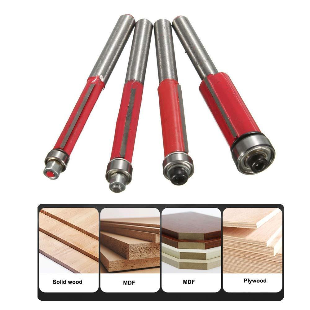 Bestgle Set of 4 Top Bearing Flush Trim Router Bit Set 1/4'' 5/16'' 3/8'' 1/2'' Cutting Diameter Carpenter Woodworking Tools, 1/4 Inch Shank by Bestgle (Image #6)