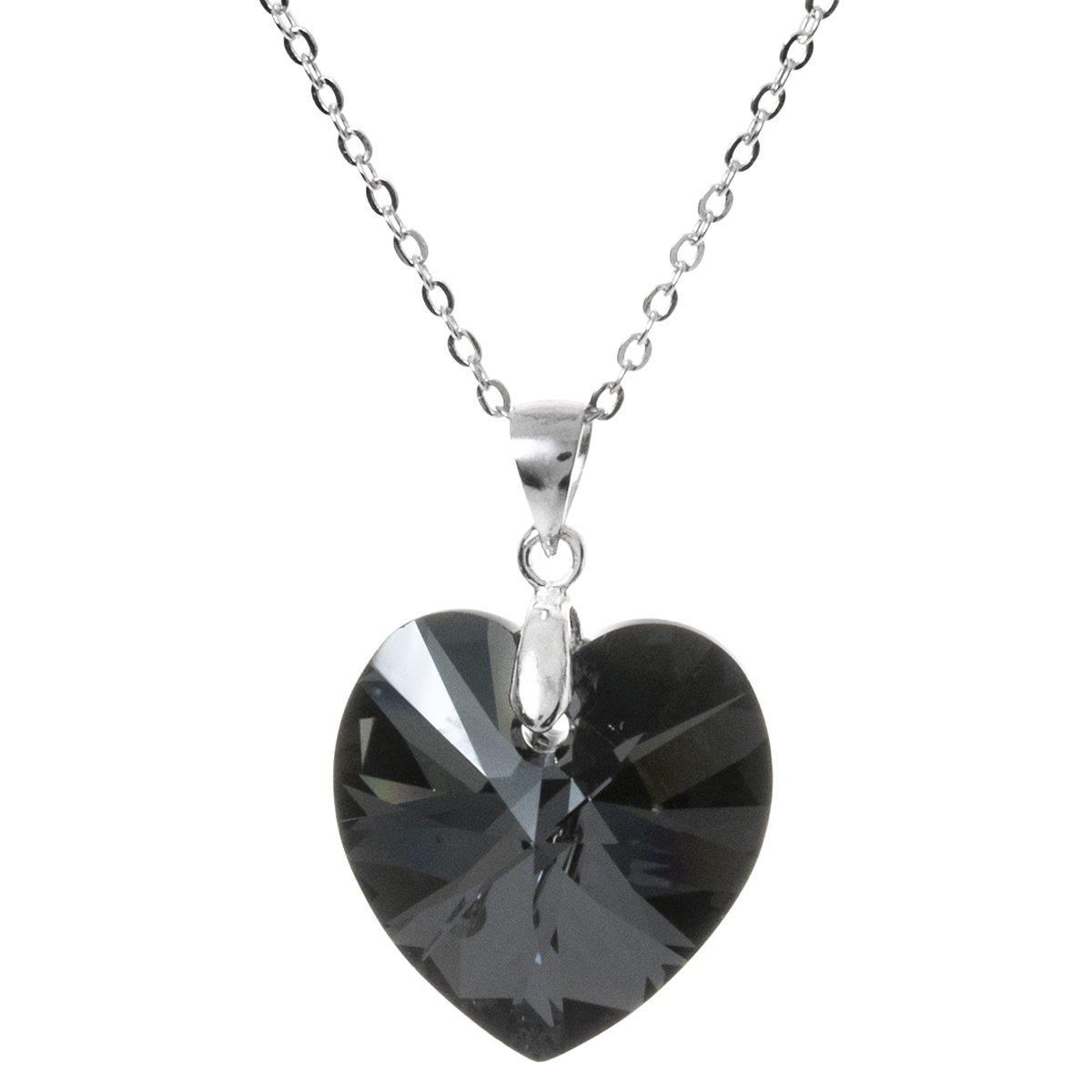 263e37fc5 Amazon.com: Dreambell Swarovski Elements Heart Silver Night Crystal Pendant  w/Rhodium Sterling Silver Adjustable Necklace 16