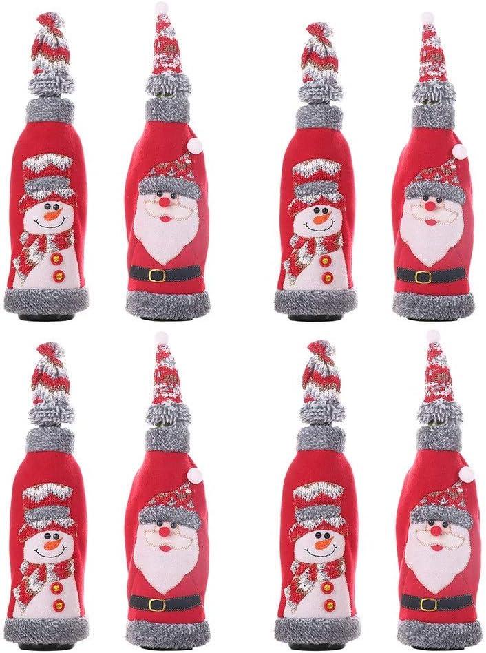 Botella de Vino Rojo de la Navidad Bolsa Restaurante Pequeño Franela Roja Vino Sombrero Traje Suministros De Vacaciones De Navidad Champagne Bolsas Decoradas Botella de Navidad Bolsa de Regalo: Amazon.es: Hogar