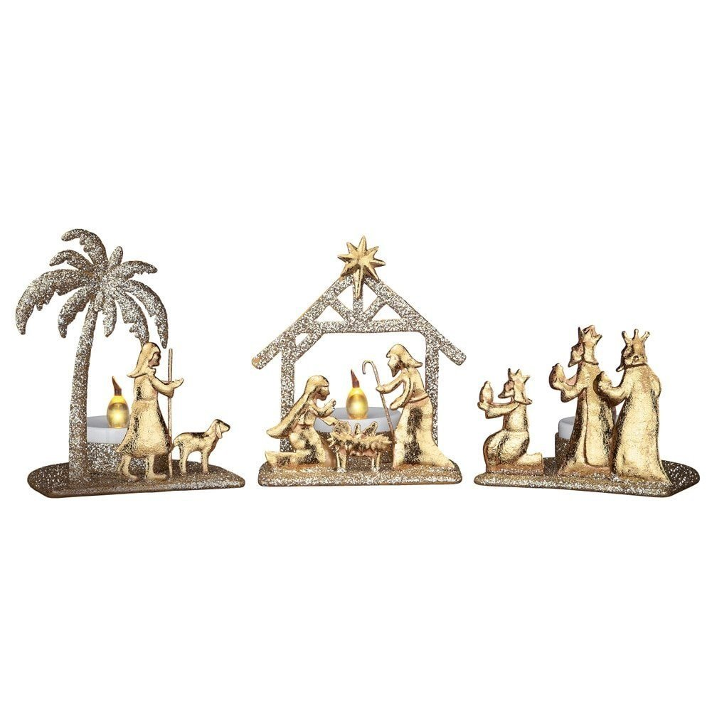 Shimmery Gold Nativity Scene Candle Holder
