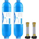 RV inline water filter with Flexible Hose Protector,Dedicated for RVs and Marines,2 pack Drinking & Washing filter…