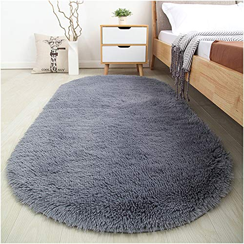 Softlife Fluffy Area Rugs for Bedroom 2.6' x 5.3' Oval Shaggy Floor Carpet Cute Rug for Boys Kids Room Living Room Home Decor, Grey