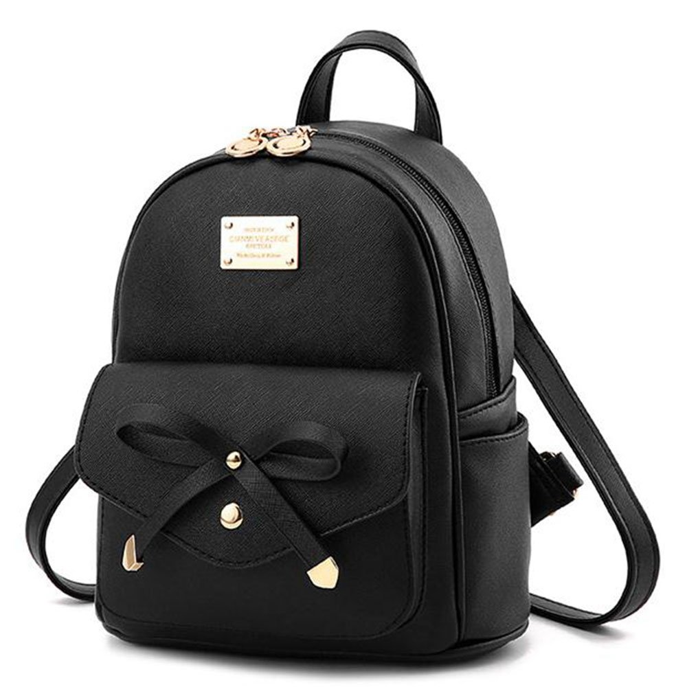 Manka Vesa Girls Bowknot Cute Leather Backpack Mini Backpack Purse for Women Black