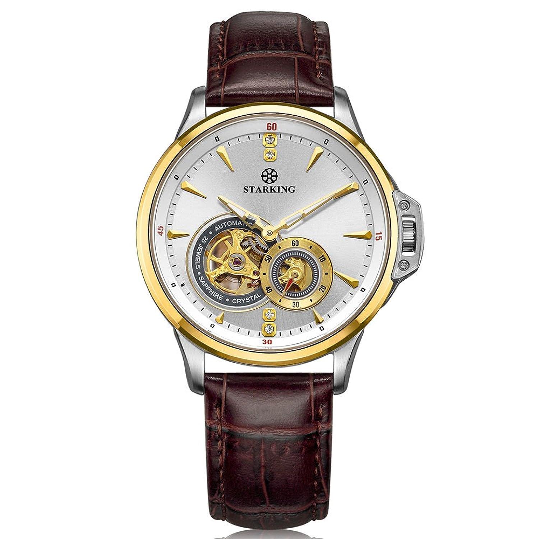 Starking Herren am0217gl91 stylische goldfarbene LÜnette braun Lederband Skelett Automatische Kleid Armbanduhr
