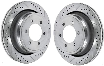 Prime Choice Auto Parts PR780978DSZPR Rear Set 2 Performance Silver Drilled Slotted Rotors 6 Stud
