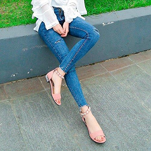 Sandales Style Perle Talon Promotion en Mode Sandales Saisonnire Femmes Toe Plates Escarpins Bas Solide Rose Rome Chaussures Cristal xpz6wvqH