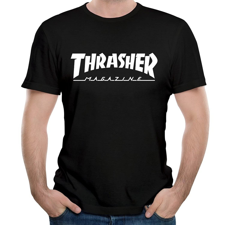 Michaner Walosde Men's Thrasher Skateboard Logo Short Sleeve T-shirts