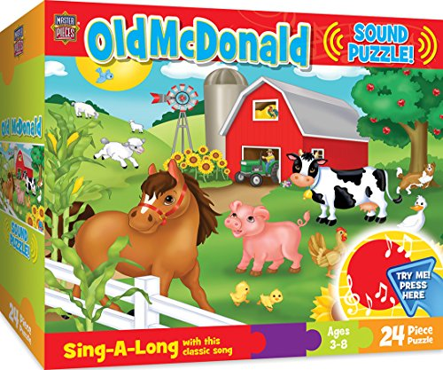 3 Piece Sound Puzzle - MasterPieces Sing-A-Long Old McDonald - 24 Piece Kids Puzzle with 30 Second Sound Chip