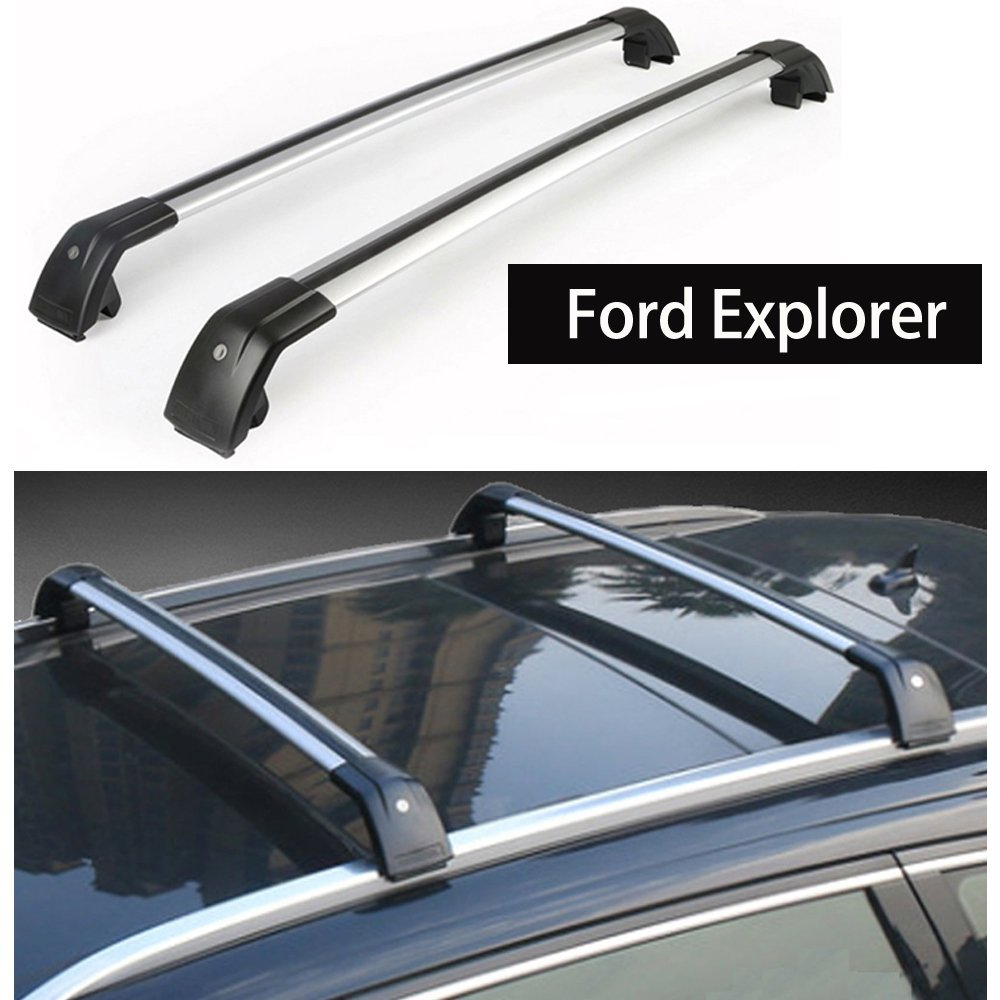 Fit for Ford Explorer 2016 2017 2018 Lockable Baggage Luggage Racks Roof Racks Rail Cross Bar Crossbar - Silver KPGDG