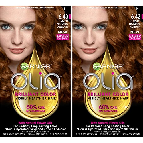 Garnier Olia Amonia-Free Brilliant Color Oil-Rich Permanent Hair Color, 6.43 Light Natural Auburn (2 Count) Red Hair Dye