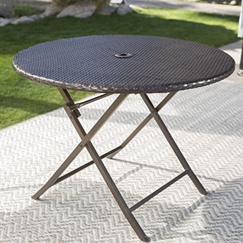 Coral Coast Berea Outdoor Wicker Folding Cafe Table (Cafe Coral Table)