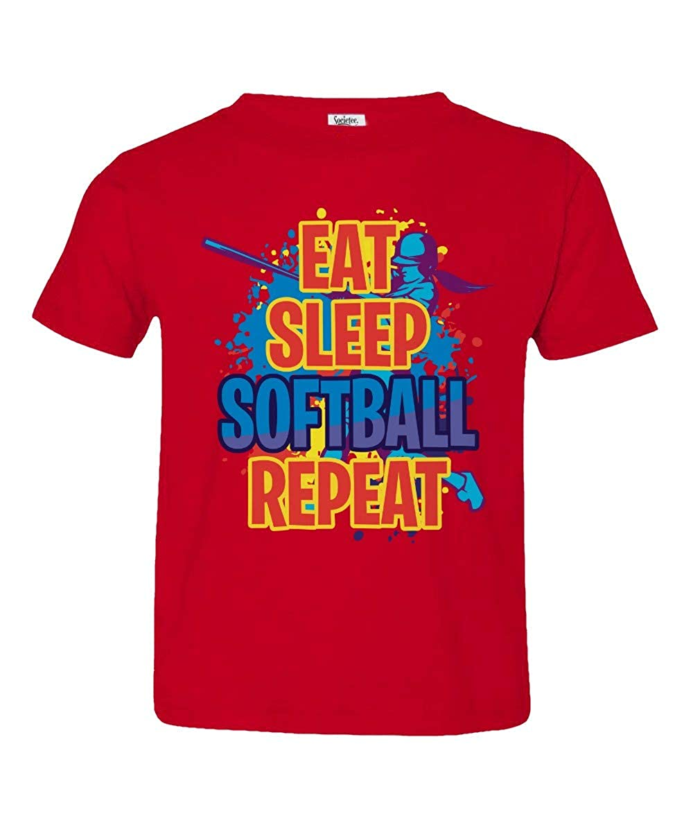 Societee Eat Sleep Softball Repeat Little Kids Girls Boys Toddler T-Shirt