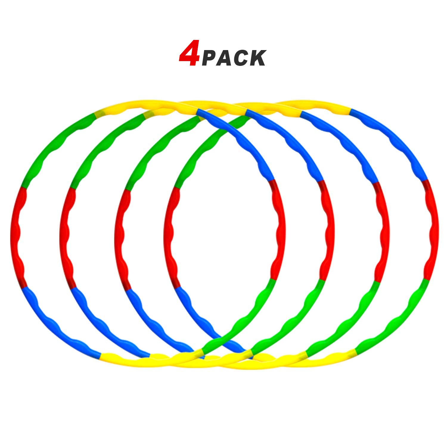 4 Pack Kids Weighted & Exercise Hoola Hoops -Hula Rings -Snap Together Detachable Adjustable Weight Size Plastic Hoops -Toy Hoop Set Bulk for Sports Playing & Games Outdoor Indoor by HongMe