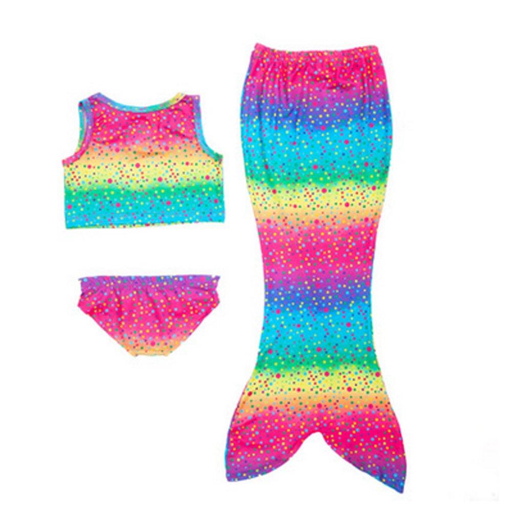 Age 4-8 Girl's 3pcs Mermaid Swimsuit Mermaid Swimwear Bikini (Blue Rainbow, 110CM(4-5Y)) … 110CM(4-5Y)) … Tianshibaobei