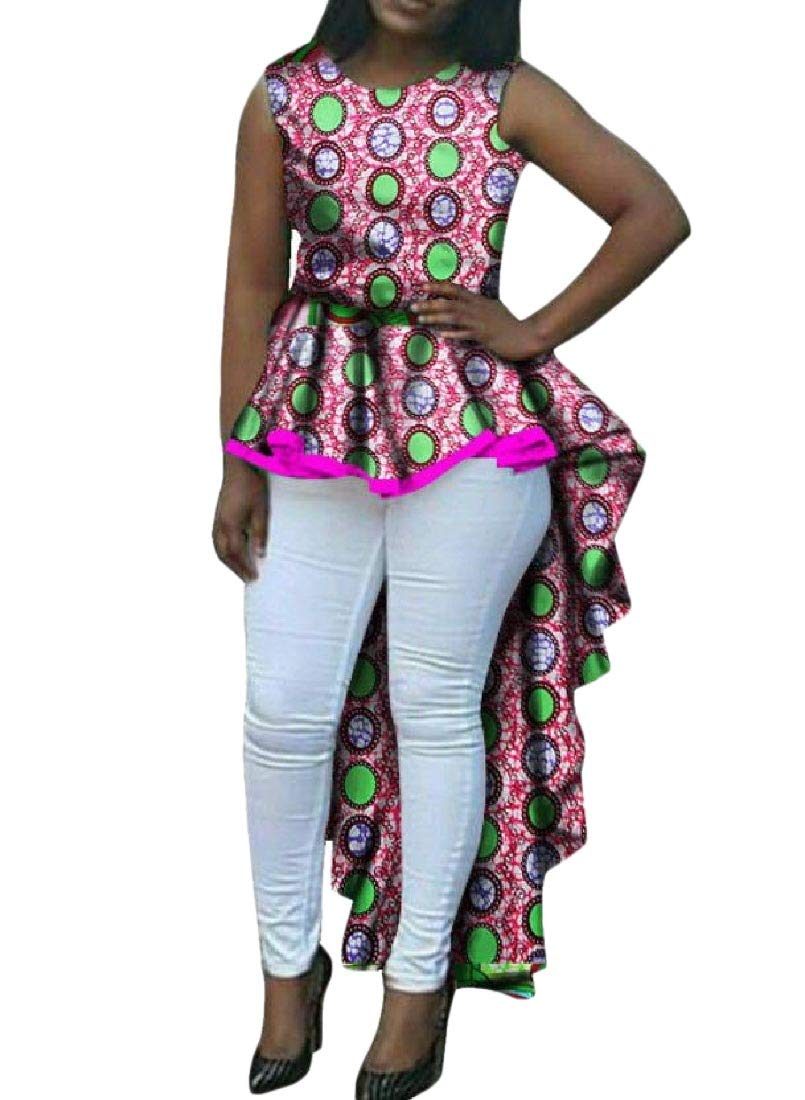 Women's Flouncing Dovetail African Print Dashiki Elegant Party Dress 1 6XL by Doufine--women clothes (Image #1)