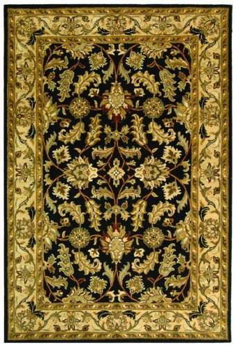 Safavieh Heritage Collection HG628B Handcrafted Traditional Oriental Black and Beige Wool Area Rug (2' x 3')