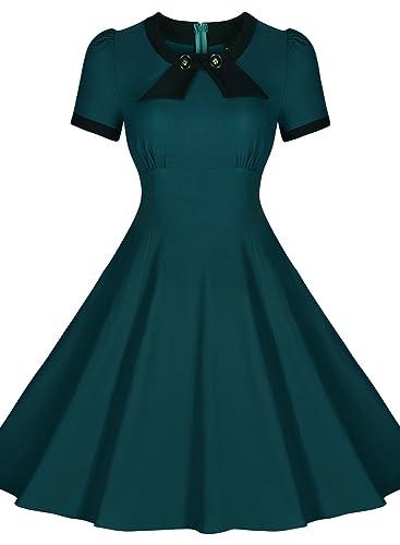 Miusol Women's Scoop Neck Elegant Bow Vintage Evening Dress