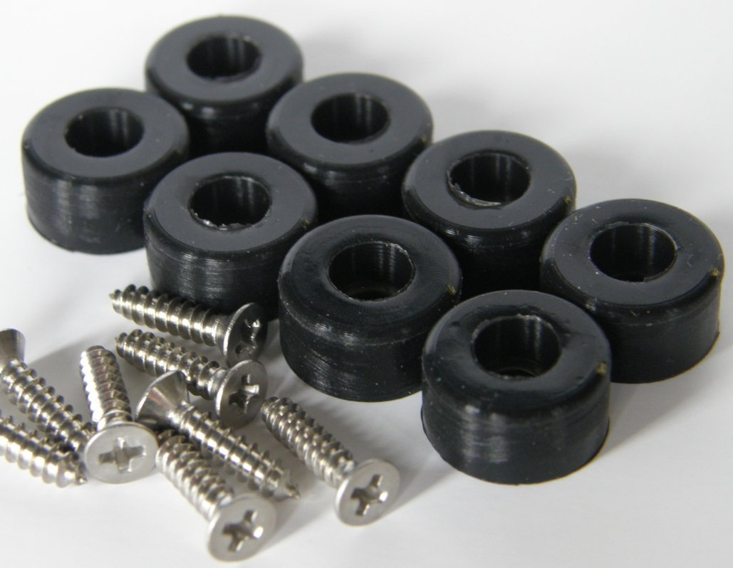 Small 1//2, Black, 8 Small 1//2 Dia and Extra Small 3//8 Dia Silicone Rubber Bumpers with Stainless Steel Screws